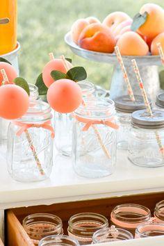 and Cream Birthday Party Cutest peach drinking glasses! Peaches and Cream Birthday Party First Birthday Brunch, 1st Birthday Girls, Birthday Party Themes, Birthday Drinks, Fun Birthday Party Ideas, Ideas Party, Balloon Birthday, Birthday Centerpieces, Birthday Cards
