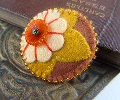 Lily Bloosom Felt Flower Brooch FREE US SHIPPING by skippingstones, $21.00