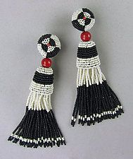 Art Deco Black and Ivory Tassel Earrings with Coral by Julie Long Gallegos (Beaded Earrings)