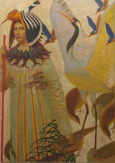 """manybirdsfromthetreeoflife: """" Migration Artist Andrey: Remnev Category: painting Material: canvas Technics: oil Height: 120 cm (47 1/4"""") Width: 85 cm (33 1/2"""") Year of creation: 2009 —- """""""