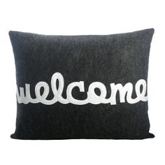 Welcome Pillow in Charcoal