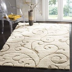 Large Area Rug Carpet Shag Collection Scrolling Vine Cream and Beige (8' x 10') #Safavieh