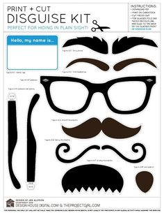 Download & print this free printable Disguise kit from Design House Digital. Kit includes a variety of mustaches, eyebrows, and a set of glasses to help you hide in plain sight!
