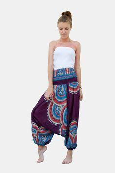 Thai Harem Pants Women Jumpsuit Floral Feather Haze Purple