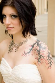 Girls Tattoo # 115 - Beautiful girl tattooed with beautiful cherry tree tattoo on shoulder:)