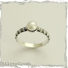 Signs of time - thin floral sterling silver ring inlaid pearl.