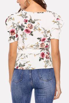 c8fa7a002f0c5f Women White Floral Print Wrap Tied Waist Short Sleeve Dressy Blouse - L Tie  Waist Shorts