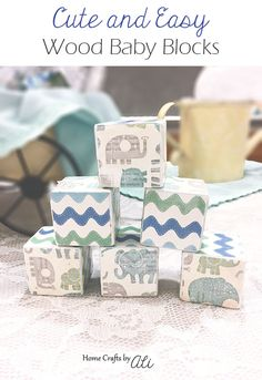 Cute and Easy Wood Baby Blocks - A quick and cute craft tutorial to makeover wood cubes into decor pieces for a baby's room, as a gift, or for baby shower decorations. Mod Podge Crafts, Bee Crafts, Wood Block Crafts, Wood Blocks, Art Cube, Baby Girl Nursery Decor, Cool Diy Projects, Wood Projects, Baby Blocks