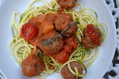 Paleo beef meatballs with homemade roasted tomato sauce and courgetti