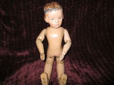 "14"" Wonderful Antique Carved Hair Schoenhut Doll With Molded Blue Band In Hair"