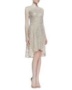 Cap-Sleeve Metallic Lace High-Low Cocktail Dress, Rose/Gold by Kay Unger New York at Neiman Marcus.
