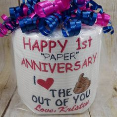 Custom made just for the special person in your life. Perfect for the couple on their 1st anniversary! Yes this is embroidered directly on the roll of tp. IF I HAVE THE INFORMATION I NEED - MOST ORDERS ARE MADE AND SHIPPED WITHIN 24 HOURS. Feel free to be creative and let me know if