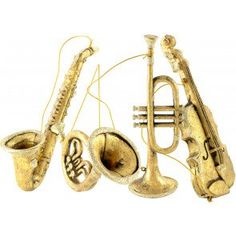 "8""-11"" Assorted Musical Instrument Ornaments: Gold (Set of 4)"