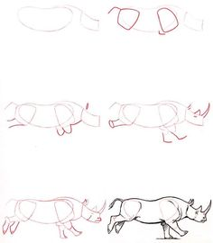Drawing Animal Learn to draw: Rhino - Graphic / Illustration - Art Tutorial - Animal Sketches, Animal Drawings, Drawing Sketches, Pencil Drawings, Animal Illustrations, Sketching, Drawing Lessons, Drawing Techniques, Art Lessons