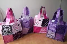 Rag Bags made with the Stampin Up Scallop Square Die.  We made these bags as a fundraiser for Relay for Life.