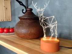 LED night light / Rustic reindeer concrete lamp / fawn desk lamp / stag night light / woodland decorative lamp