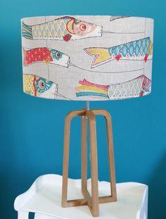 """Abat-jour tissu japonais en lin imprimé """"Koinobori"""", cerf-volant? Lampshade custom made design."""