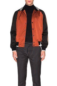 LANVIN Colorblock Satin Baseball Jacket. #lanvin #cloth #