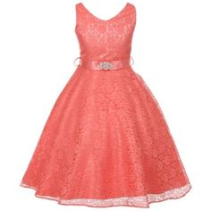 Big Girls Fabulous Full Lace V-Neck Dress Rhinestone Coral - Size 14