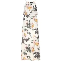 Dorothy Perkins Floral printed strappy maxi dress ($75) ❤ liked on Polyvore featuring dresses, multi color, white floral print dress, flower print dress, white strap dress, colorful maxi dress and colorful dresses