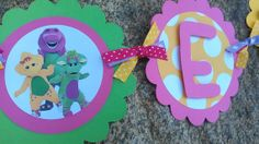 Barney Inspired Birthday banner in bright colors. by SweetBugABoo, $40.00