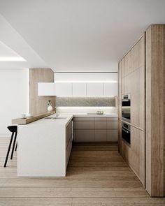 cocina abierta con muebles color blanco, módulo para electrodomésticos y almacenaje como separación de espacios, suelo de parquet: