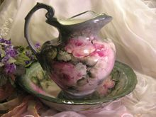 Absolutely Superb Painted Artistry of Gorgeous Romantic Roses ~ Stunning Antique Unmarked LIMOGES FRENCH Hand Painted LARGE Water PITCHER with Matching BOWL Basin ~ Gorgeous Victorian Era Bath Set ~ VERY Rare PORCELAIN MOLD