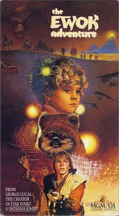 The Ewok Adventure - 1990 VHS front cover - MGM/UA Home Video Close Bigler, Simpson, M. Denney - Isn't this the movie we had as kids? The little girl's name was Cindle or something like that. Fantasy Movies, Sci Fi Movies, Movie Tv, Indie Movies, Comedy Movies, Action Movies, Star Wars Poster, Star Wars Art, Star Trek