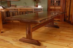 cherry trestle dining table hand made live edge walnut slab trestle dining table by wood works solid cherry trestle dining table Trestle Table Plans, Trestle Dining Tables, Dinning Room Tables, Walnut Dining Table, Bench Plans, Dining Rooms, Wood Slab Table, Stump Table, Live Edge Tisch