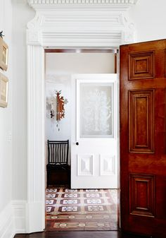 beautiful entry, etched glass door
