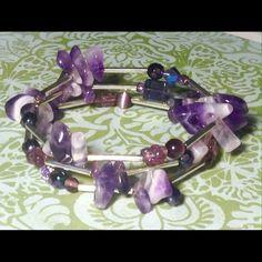 Purple amethyst wrap bracelet NWOT Amethyst, cat's eye and Czech glass wrap bracelet with silver plated accents. Sayre Jewelry Bracelets