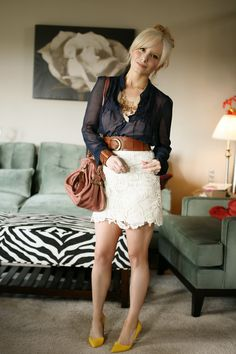 Lace skirt, sheer button up