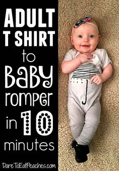 My favorite thing to do with old graphic tees is make these super easy, super quick baby/toddler rompers! Seriously one of the easiest DIY baby clothes projects ever! diy DIY: Adult T-Shirt to Baby Romper in 10 Minutes Sewing Baby Clothes, Trendy Baby Clothes, Baby Clothes Shops, Diy Clothes, Diy Upcycled Baby Clothes, Toddler Clothes Diy, Old Baby Clothes, Baby Clothes Patterns, Toddler Outfits