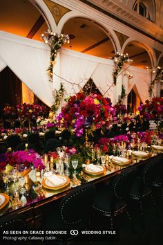 gold black and purple wedding reception decor idea at vibiana in los angeles california