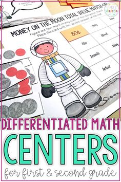 These differentiated math centers for 1st and 2nd grade are fun, independent, easy activities for your students to complete during guided math stations. They include skills such as place value, number sense, shapes, word problems, skip counting, addition, subtraction, time, and skip counting.