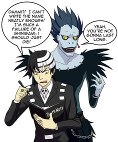 This is just about the best thing ever. Death the Kid-Soul Eater & Ryuk-Death Note