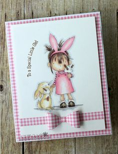 Alice Ice cream from Lili of the Valley. Coloured in pencil. Little girl. Bunny. Friends