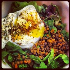 Protein-packed lentil, spinach, and egg salad,