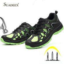 Suadeex Men Work Shoes Steel Toe Cap Safety Shoes Anti Smashing