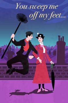 Mary Poppins - Adorable Disney Valentine's Day Card Disney Pixar, Walt Disney, Disney And Dreamworks, Disney Love, Disney Magic, Disney Stuff, Disney Tips, Hamilton Musical, Disney Valentines