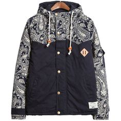 Choies Multicolor Unisex Paisley Hooded Coat ($65) ❤ liked on Polyvore featuring outerwear, coats, jackets, multi, colorful coat, multi colored coat and blue coat