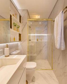 Banheiro Pequeno Decorado: +100 Fotos para te Inspirar em 2020 Bathroom Design Luxury, Bathroom Layout, Modern Bathroom Design, Tile Layout, Home Room Design, Decor Interior Design, House Design, Zen Bathroom, Small Bathroom