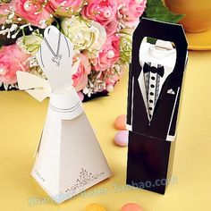 Wedding Gift For Bride And Groom Singapore : Bride and Groom Favor Boxes, Place cards BETE-TH001 Decor