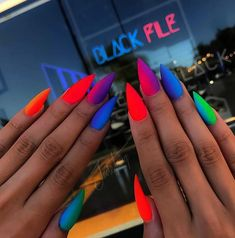 23 pretty ways to wear rainbow nails this summer - StayGlam 23 Pretty Ways to Wear Rainbow Nails This Summer Matte rainbow stiletto nails Rainbow Nails, Neon Nails, Dope Nails, Gradient Nails, Matte Stiletto Nails, Summer Stiletto Nails, Neon Nail Art, Ombre Nail, Stiletto Nail Designs