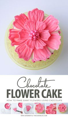 How to make a giant chocolate flower cake, using candy melts and everyday tools. A fun and easy cake to make for special events this spring! Cake Decorating Techniques, Cake Decorating Tutorials, Cookie Decorating, Decorating Cakes, Decorating Ideas, Icing Flowers, Buttercream Flowers, Fondant Rose, Fondant Baby