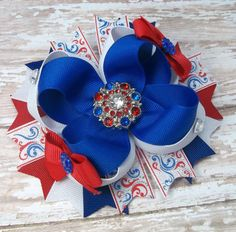 4th of July Hair Bow  Boutique Red White by JustinesBoutiqueBows