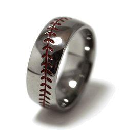 Men's Titanium Baseball Wedding Ring with Red Stitching Wedding Engagement, Wedding Bands, Engagement Rings, Wedding Ring, Baseball Ring, Wedding Inspiration, Wedding Ideas, Wedding Planning, Titanium Rings