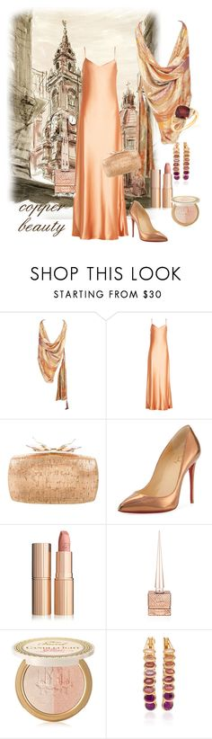 """""""Copper Beauty"""" by kindlefraud ❤ liked on Polyvore featuring Emanuel Ungaro, Galvan, Judith Leiber, Christian Louboutin, Charlotte Tilbury, Too Faced Cosmetics, Marie Mas and Belk & Co."""