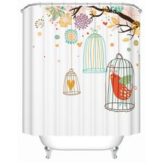 Spring/Summer Flower & Bird Song Colorful World Collection Fabric Waterproof Shower Curtain 180x180cm