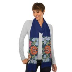 .Stylized flowers of the summer are printed on this scarf in Kalocsai style